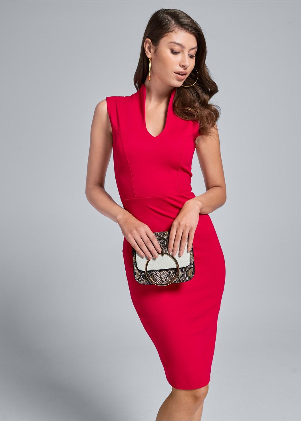 Mock V Midi Dress,Lucite Detail Print Heels,Print Detail Handbag