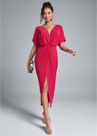 Full front view Knot Front Midi Dress