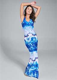 Full front view Crochet Printed Maxi Dress