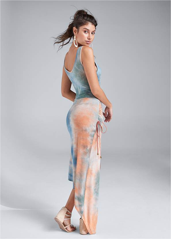 Full back view Tie Dye High Low Dress