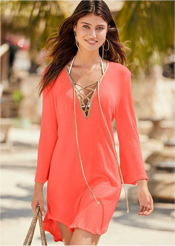 Roman Cover-Up Beach Dress,Triangle String Bikini Top,String Side Bikini Bottom,Color Block Tie Side Bottom,Scoop Front Classic Bikini Bottom