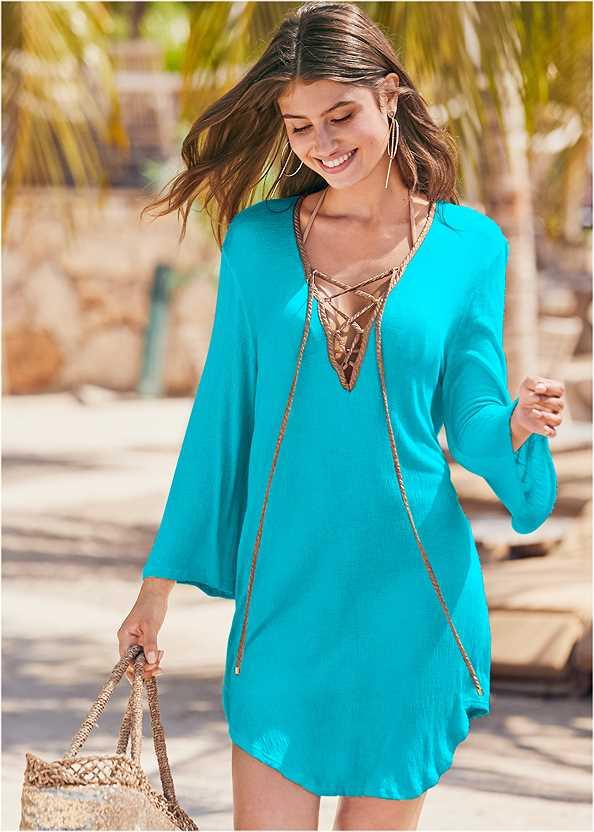 Roman Cover-Up Beach Dress,Triangle String Bikini Top,Scoop Front Classic Bikini Bottom ,Low Rise Classic Bikini Bottom