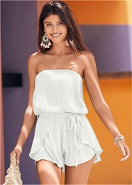 Cropped Front View Drape Cover-Up Romper