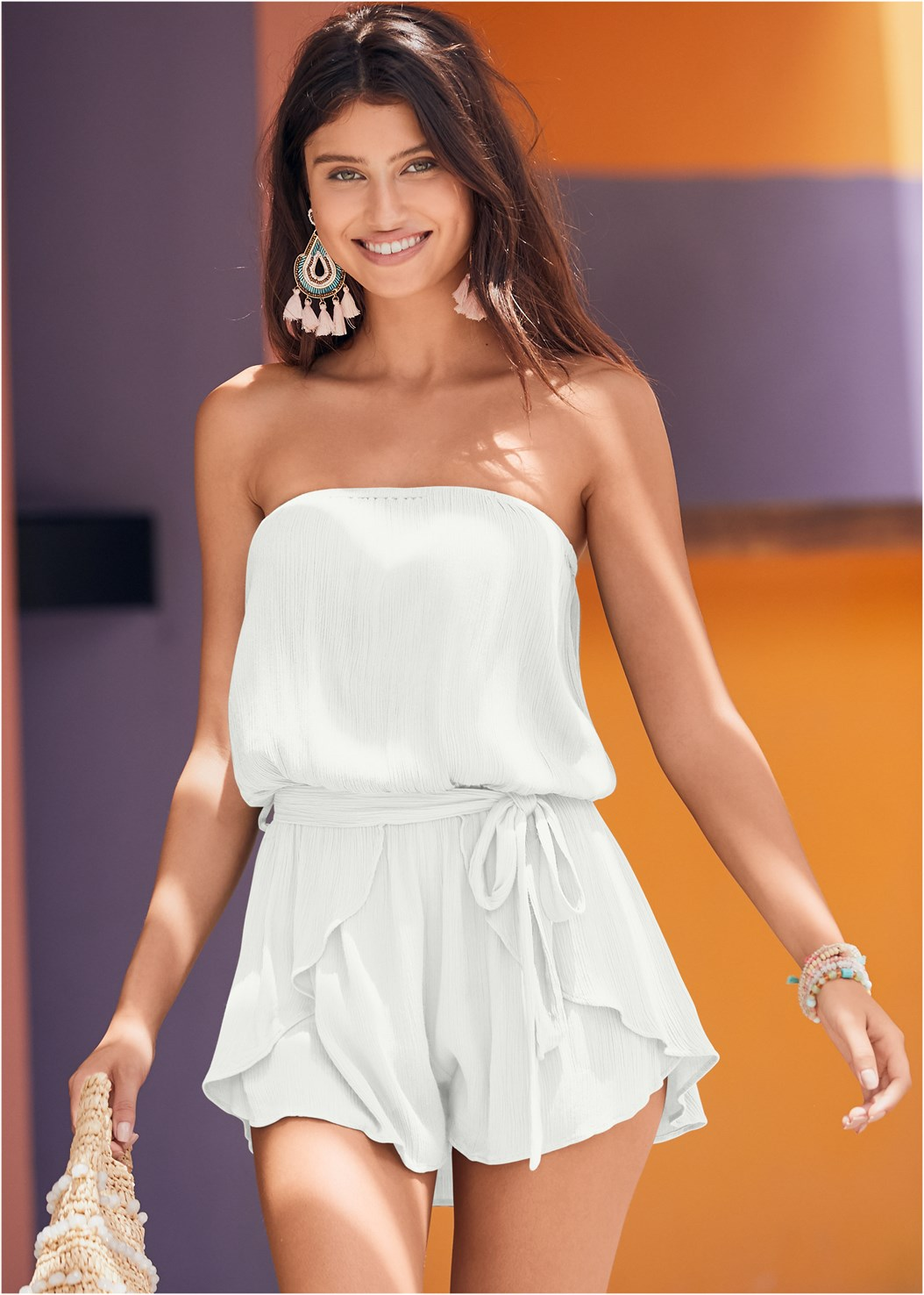 Drape Cover-Up Romper,Strappy Bandeau Top,Mid Rise Strappy Bottom