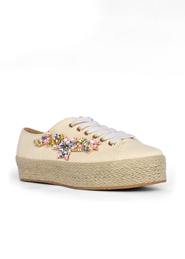 Embellished Espadrilles,Cold Shoulder Sweater,Triangle Hem Jeans,Beaded Hoop Earrings