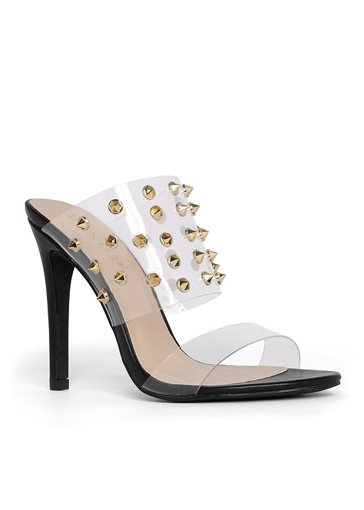 EMBELLISHED LUCITE HEEL,SIDE ZIPPER JEANS