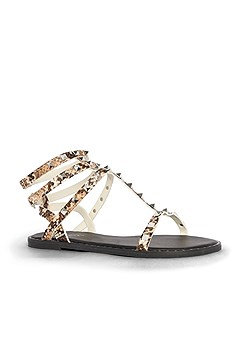 studded animal print sandal