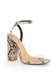 Front View Lucite Detail Print Heels