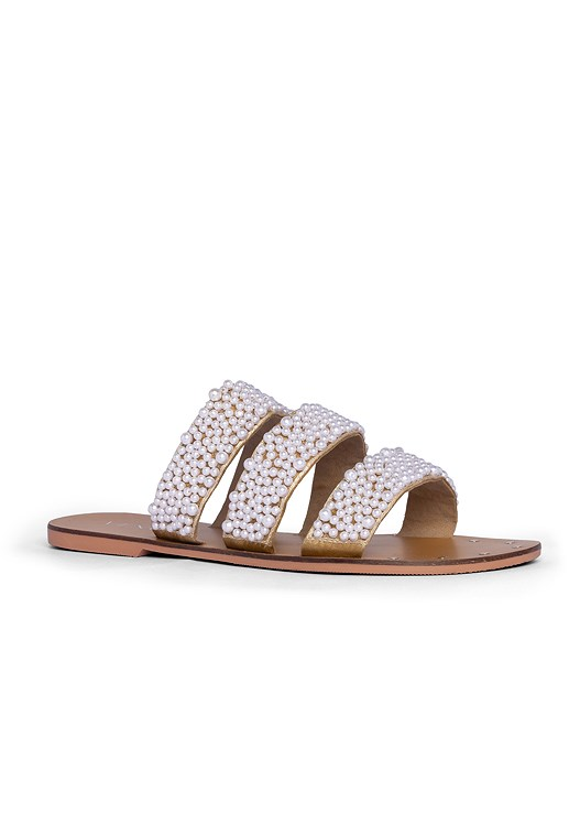 PEARL DETAIL SANDALS,POLKA DOT JUMPSUIT