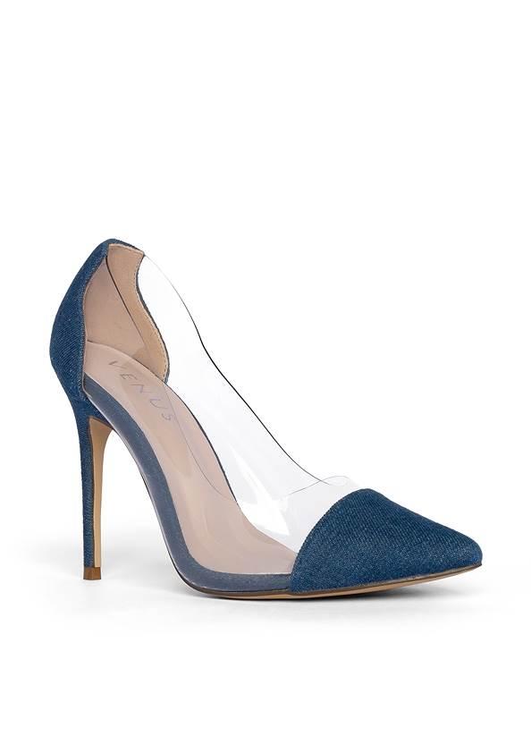 Lucite Detail Heels,Mid Rise Color Skinny Jeans,Beaded Tassel Earrings
