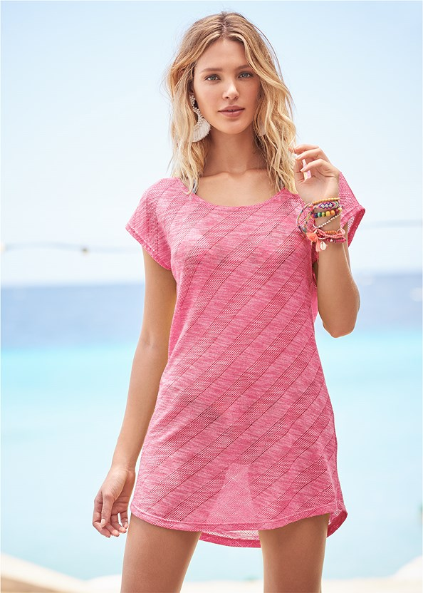 Scoop Neck Cover-Up Dress,Triangle String Bikini Top,Mid Rise Strappy Bottom