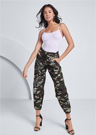 Front View Camo Embellished Cargo Pant