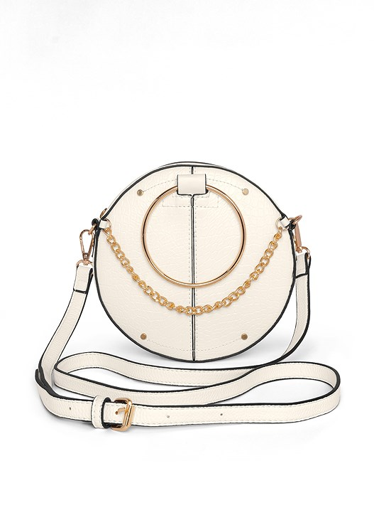 CIRCLE RING DETAIL HANDBAG,FAUX LEATHER FRINGE TOP,SLIMMING STRETCH JEGGINGS,CRISSCROSS STRAPPY HEEL