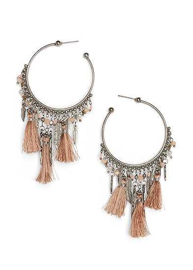 Tassel Detail Hoop Earrings