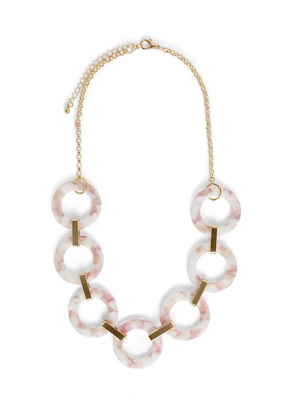 Long Link Necklace,Slit Detail Maxi Dress,Metallic Strap Sandals