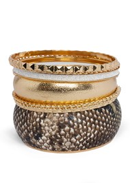 Front View Animal Print Bangle Set