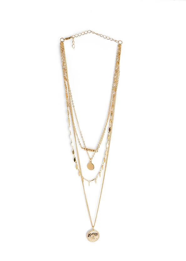 Layered Long Necklace,Lace Inset V-Neck Dress