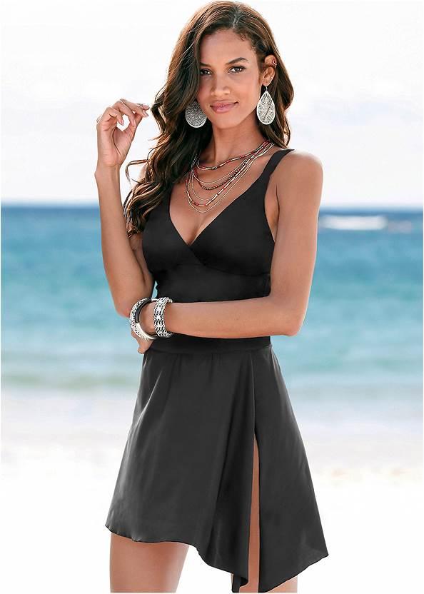 Adjustable Swim Dress,Button Cover-Up Shirt,Sheer Caftan Cover-Up,Studded Flip Flops