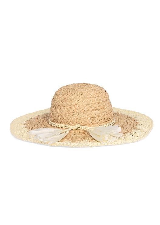 TASSEL DETAIL FLOPPY HAT,A-LINE LACE TRIM DRESS,EMBELLISHED ROPE SANDALS