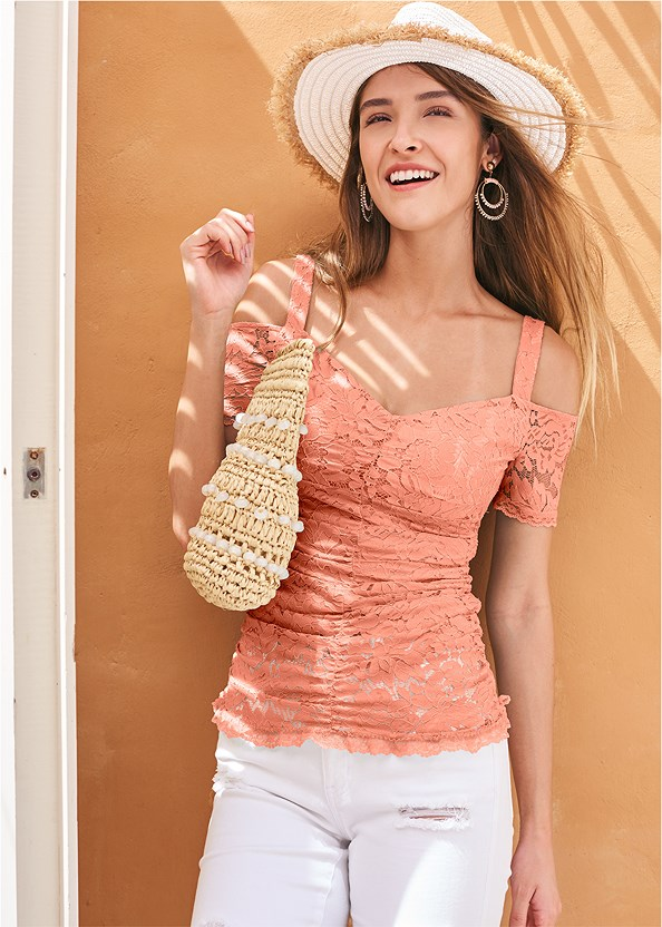 Cold Shoulder Lace Top,Color Skinny Jeans,Studded Strappy Heels,Beaded Hoop Earrings,Color Block Straw Hat