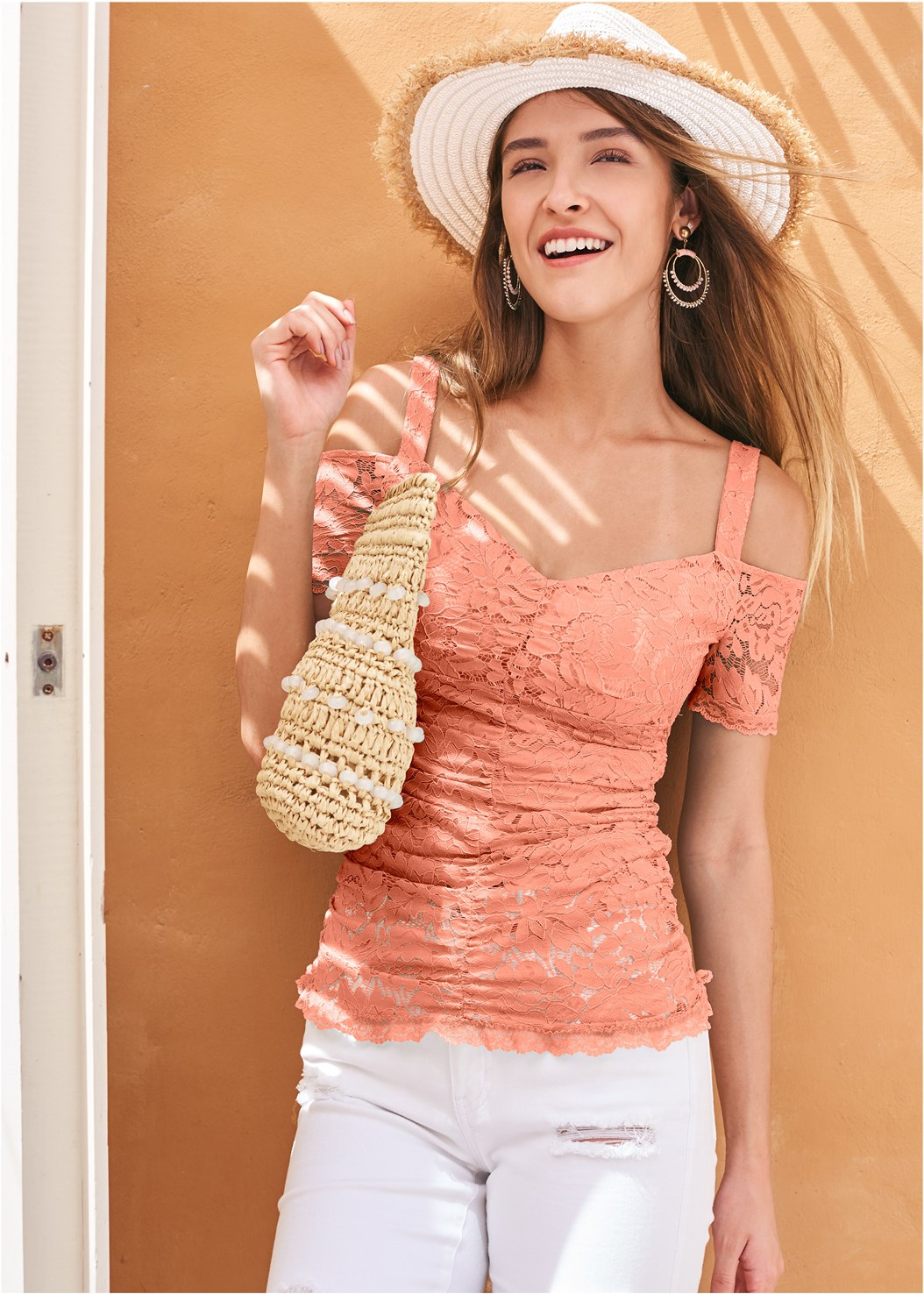 Cold Shoulder Lace Top,Mid Rise Color Skinny Jeans,Triangle Hem Jeans,Studded Strappy Heels,Beaded Hoop Earrings,Color Block Straw Hat,Ring Handle Circle Clutch