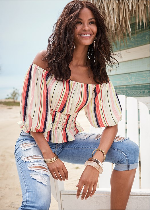 OFF THE SHOULDER STRIPE TOP,DISTRESSED JEAN CAPRIS,TRIANGLE HEM JEANS,EVERYDAY YOU STRAPLESS BRA,TASSEL DETAIL HOOP EARRINGS,MIXED MEDIA BANGLE SET