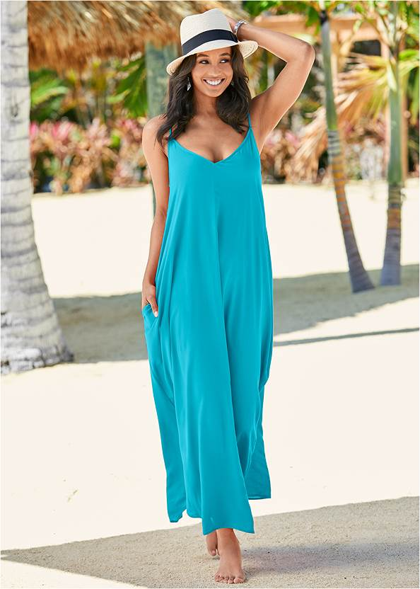 Boho Maxi Dress Cover-Up,Retro Ring Bralette Top,Fun Sexy Style One Piece