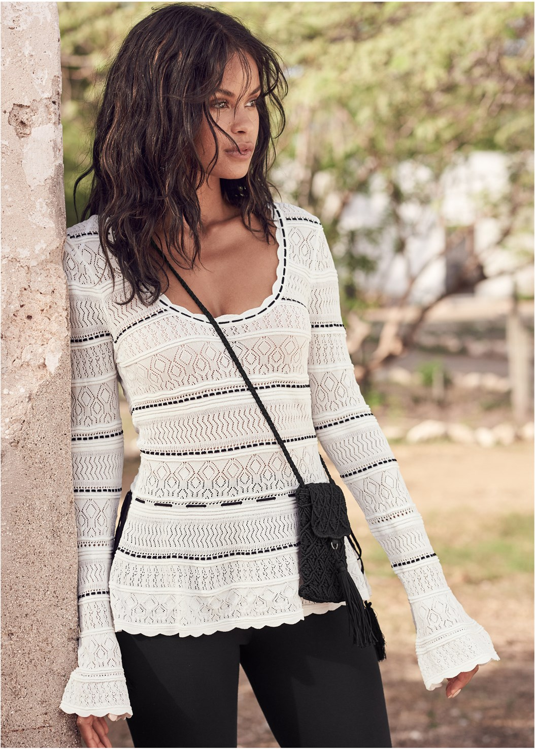 Bell Sleeve Sweater,Slimming Stretch Jeggings,Ruffle Hem Pants,High Heel Strappy Sandals,Tassel Detail Bag