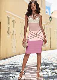 Full front view Bandage Color Block Dress