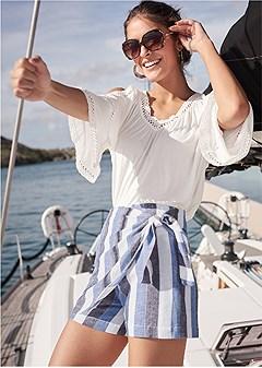 linen wrap front shorts