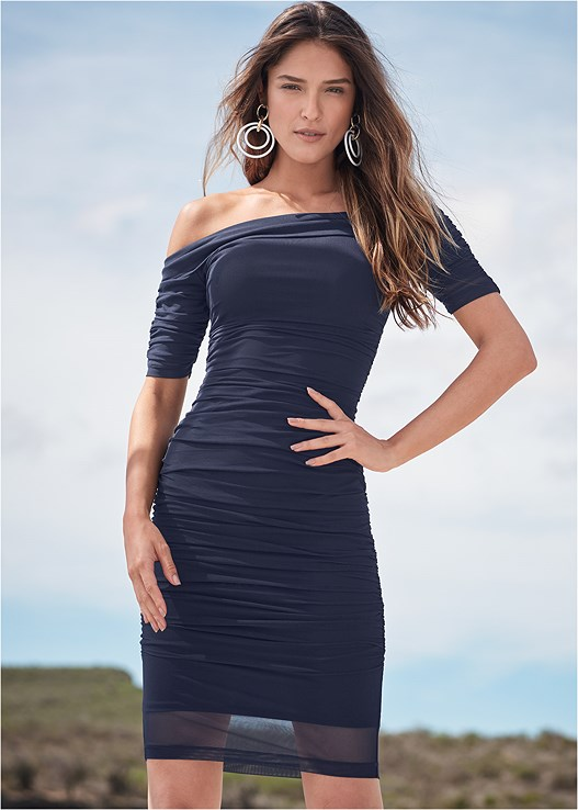 RUCHED MESH BODYCON DRESS,EVERYDAY YOU STRAPLESS BRA,HIGH HEEL STRAPPY SANDALS,TRANSPARENT STUDDED HEELS,STEVE MADDEN SUNGLASSES,COLOR BLOCK HOOP EARRINGS