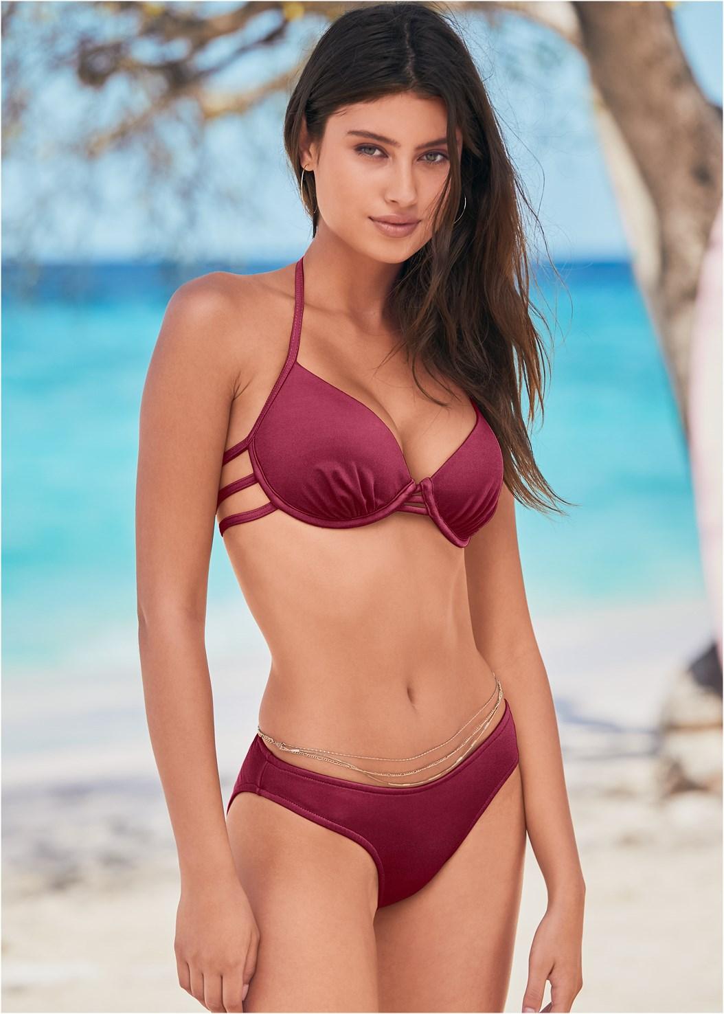 Strappy Enhancer Halter Top,Scoop Front Classic Bikini Bottom ,Low Rise Classic Bikini Bottom ,Wrapped Mid Rise Bottom,Jersey Fishnet Cover-Up Jumpsuit