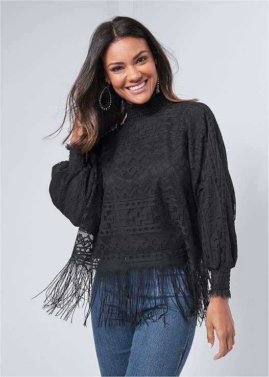 FRINGE DETAIL LACE TOP,KISSABLE STRAPPY PUSH UP,HIGH WAISTED DENIM JEAN,WRAP AROUND HEELS,TEAR DROP EARRINGS