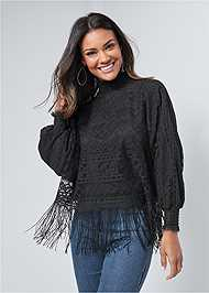 Front View Fringe Detail Lace Top