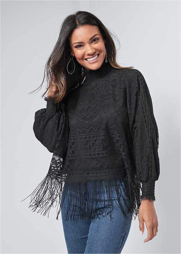 Fringe Detail Lace Top,Kissable Strappy Push Up
