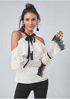 cold shoulder crochet top