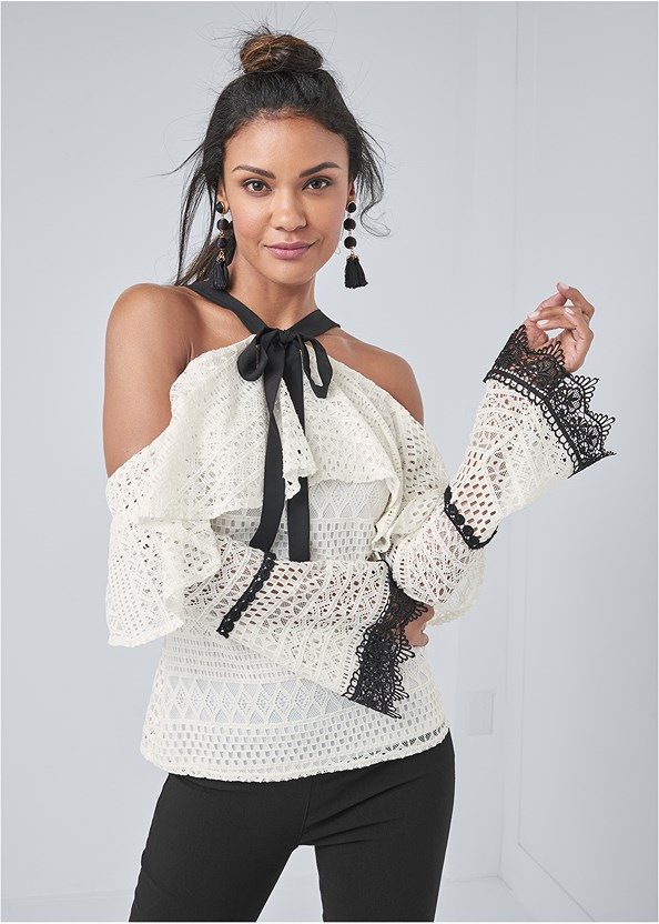 Cold Shoulder Crochet Top,Mid Rise Slimming Stretch Jeggings,Everyday You Strapless Bra,Lace Up Tall Boots