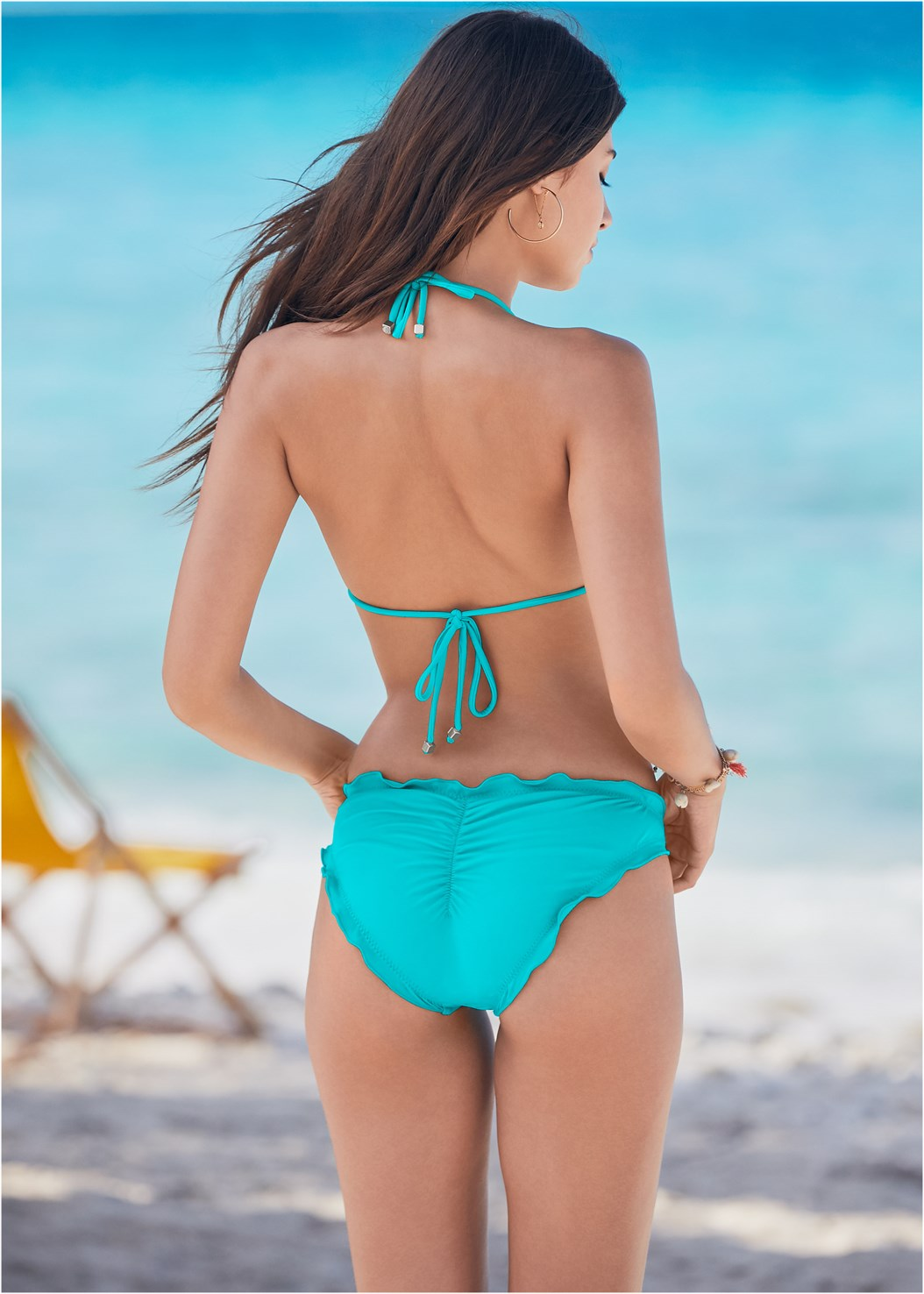 Ruffle Scrunch Back Bottom,Triangle String Bikini Top,Strappy Maxi Dress