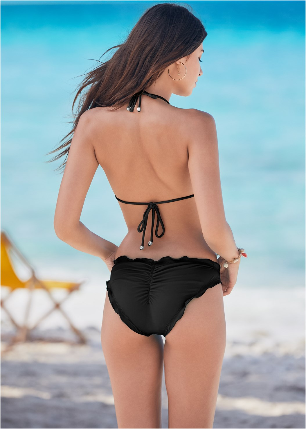 Ruffle Scrunch Back Bottom,Triangle String Bikini Top,Enhancer Push Up Ring Halter Triangle Top