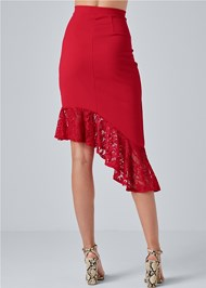 Alternate View Lace Trim Midi Skirt
