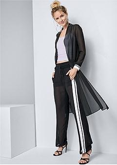 side stripe sheer pants