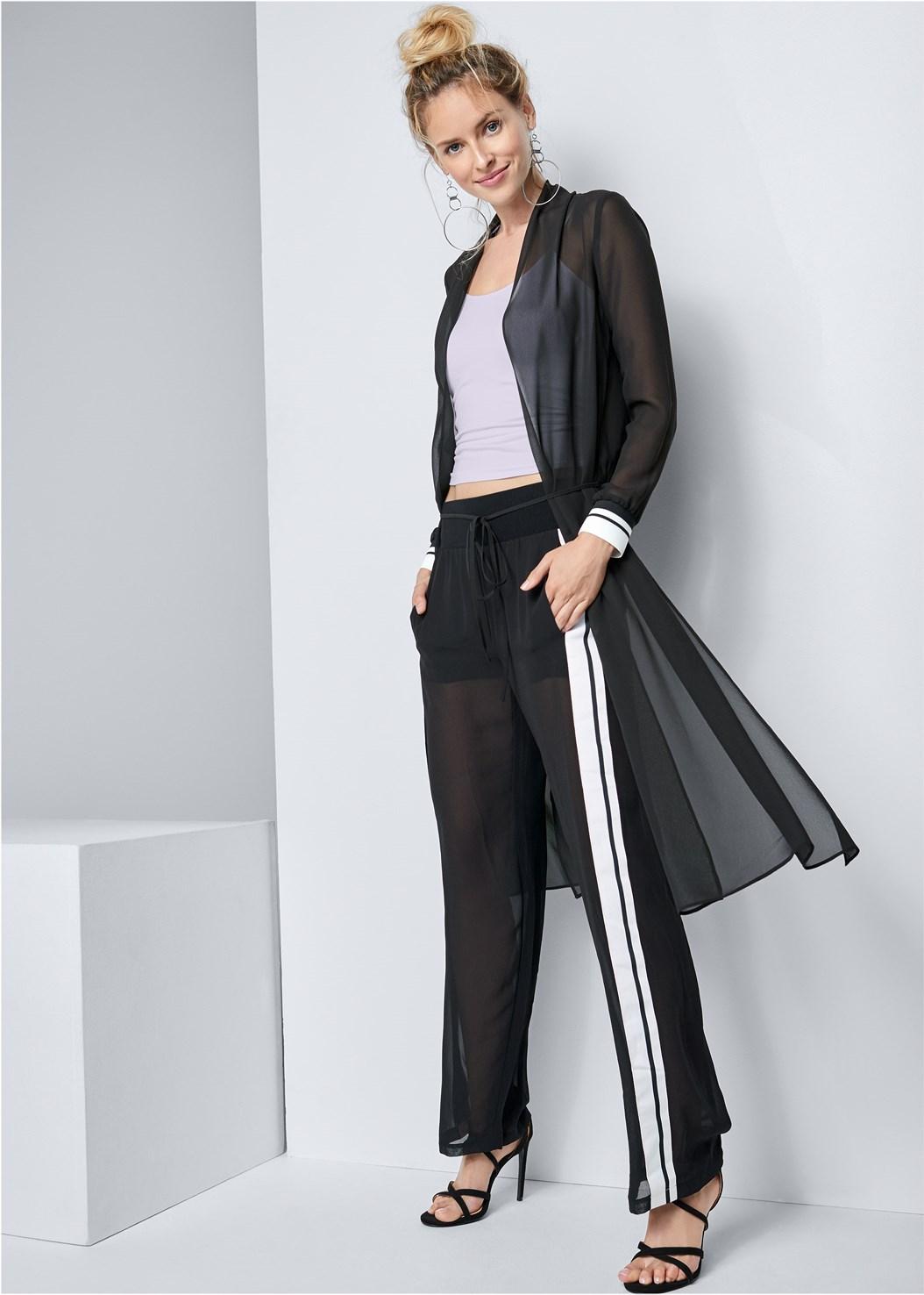 Side Stripe Sheer Pants,Basic Cami Two Pack,Stripe Trim Sheer Jacket,Hoop Earrings