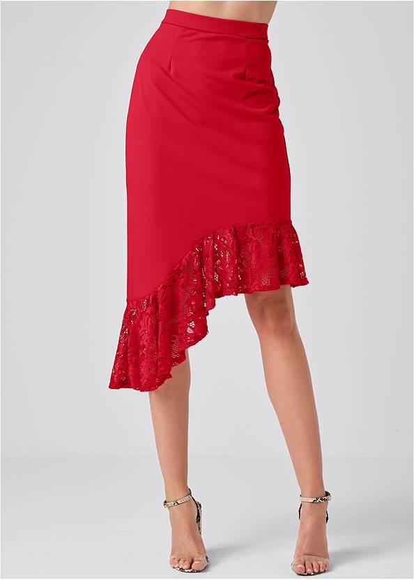 Alternate View Lace Trim Midi Skirt