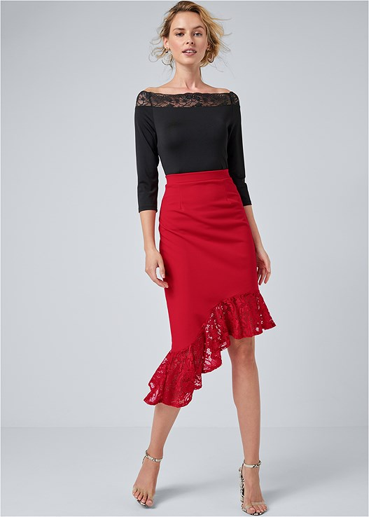 LACE TRIM MIDI SKIRT,LACE SLEEVE BODYSUIT,BEADED HOOP EARRINGS