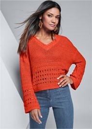 Front View Bell Sleeve Sweater