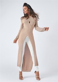 Full Front View Cross Front Maxi Sweater