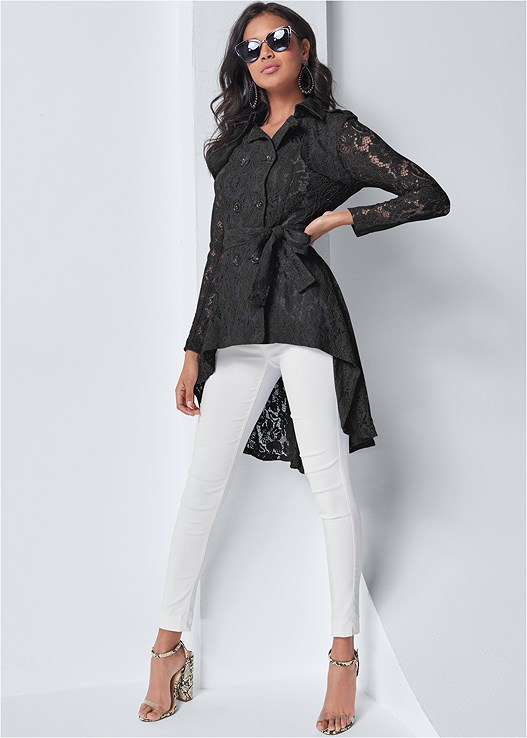 LACE HIGH LOW TRENCH COAT,SEAMLESS CAMI,SLIMMING STRETCH JEGGINGS,LUCITE DETAIL PRINT HEELS,BEADED HOOP EARRINGS