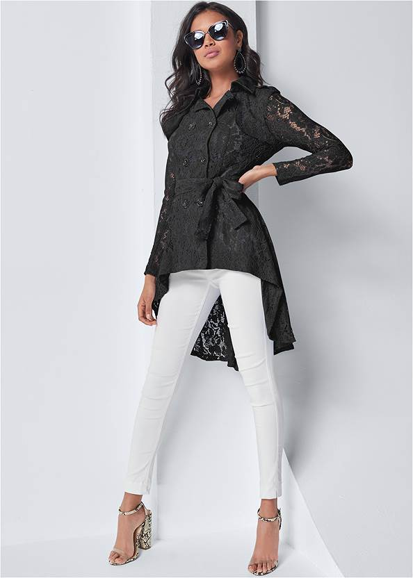 Lace High Low Trench Coat,Basic Cami Two Pack,Mid Rise Slimming Stretch Jeggings
