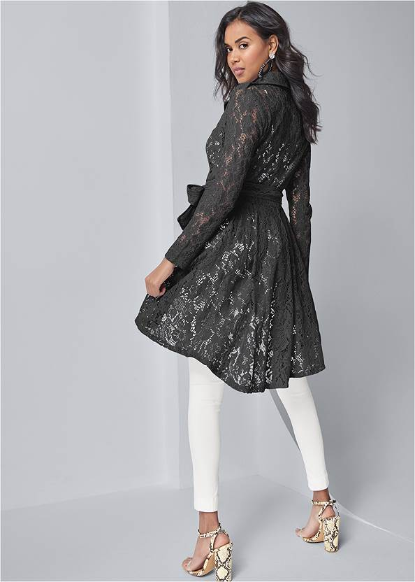 Back View Lace High Low Trench Coat