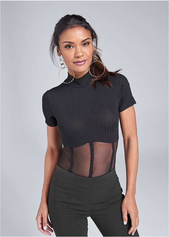 Mesh Detail Bodysuit,Slimming Stretch Jeggings,Strappy Heels